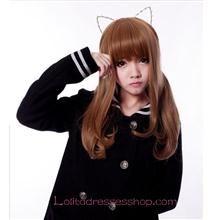 Lolita Khaki Long Curl Maid Cute Cosplay Wig