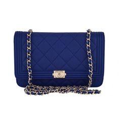 317cecef0fbf NWT 16B Chanel Caviar Blue Boy Classic Quilted WOC Wallet on Chain Flap Bag