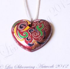 'Red and Curly Heart Pendant' is going up for auction at  7pm Thu, Jul 26 with a starting bid of $20.