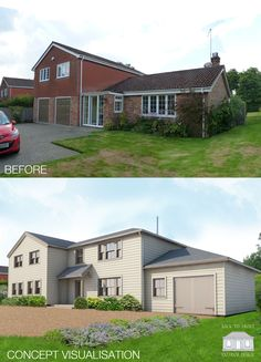 Exterior Remodelling scheme in Hampshire by Back to Front Exterior Design. The concept visual shows weatherboarding and timber windows, completely transforming the exterior look of this 1960's/70's property.