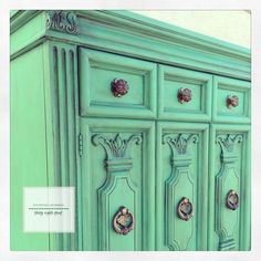 A vintage Thomasville armoire refinished with Chalk Paint® decorative paint by Annie Sloan using a custom blend of 2 parts Antibes Green with 1 part Florence | By Thirty Eighth Street http://thirtyeighthstreet.tumblr.com/