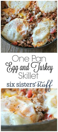 One Pan Egg and Turkey Skillet on SixSistersStuff.com | This One Pan Egg and Turkey Skillet is so easy to make and tastes delicious! I love to eat mine with avocados on top!