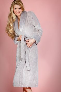 a547e95664 Cable Design Robe with Faux Mink Fur Collar and Cuffs (Grey)