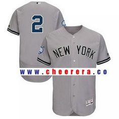 6bdbe26fe Men s New York Yankees Derek Jeter Majestic Gray Road Retirement Patch  Authentic Collection Flex Base Jersey