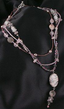 Jewelry Making Idea: Pink Zebra Jasper Necklace (eebeads.com)