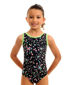 Love this Lime Simone Galaxy Leotard & Scrunchie - Girls by TumbleWear on #zulily! #zulilyfinds
