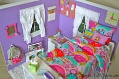 Amazing doll room! This is so cool! I love how everything is so colorful! Click on the picture to see more pictures of this awesome room!