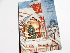 Xmas House Cards  Set Of 4  Vintage Holiday  by Lusmysticjewels