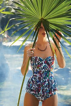 Mix & Match Peplum Tankini Top #anthropologie. I usually don't like tankini's but I really like this one! Particularly the one with a patterned top with black bottoms