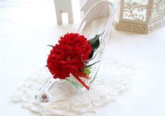 [바보사랑] 시들지 않는 카네이션을 예쁜 유리구두에 /시들지않는꽃/시들지않는생화/카네이션/꽃/어버이날/스승의날/부모님선물/Fadeless flowers/Carnation/Flower/Father/Mother/Parents/Gift