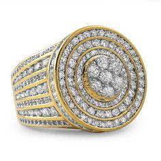 18k Gold Finish Mens Bridge Ring With Lab Made CZ Stones