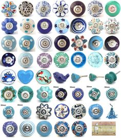 Blue Purple Turquoise Ceramic Knobs Drawer Pulls Cupboard Door Knobs | eBay