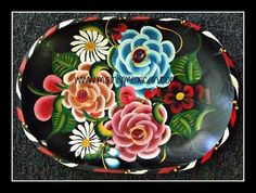 Toll painted batea from Quiroga, Michoacan for sale on eBay - it can be yours! SOLD #Mexican #Mexico #folkart #art #antique #collectible #tray #toll #flowers www.mainlymexican...