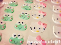 Keroppi and Hello Kitty Edible Cupcake Toppers #edibledecorations #hellokitty #keroppi #cupcaketoppers