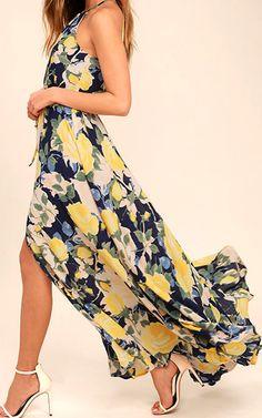 Precious Memories Navy Blue and Yellow Floral Print Maxi Dress via @bestmaxidress