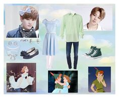 """""""Peter Pan With Yoonmin"""" by yoonmin2725 ❤ liked on Polyvore featuring Dsquared2, Cesare Attolini, Converse, Forever 21 and Laura Ashley"""