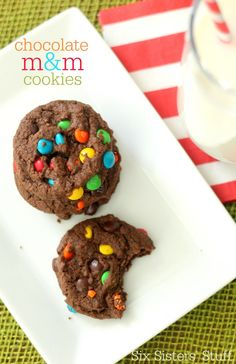 These Chocolate M and M Cookies are a chocolate lovers dream come true! Chewy, chocolaty and delicious! #sixsistersstuff