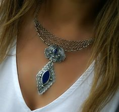 Commingling of Galaxies - Lapis Lazuli Sterling Silver Necklace by MercuryOrchid on Etsy