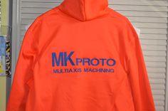 Company logo on a Orange jacket back with a brick wall embroidery pattern fill Embroidery Services, Embroidery Patterns, Orange Jacket, Company Logo, Sweatshirts, Sweaters, Jackets, Fashion, Needlepoint Patterns