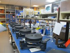 Clearaudio Innovation Wood turntables in production.