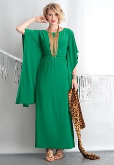 love the hair, and that color of green.  Although the cut of that dress reminds me of Mrs. Roper from Three's Company