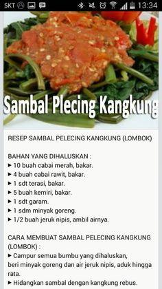 Sambal plecing kang kung (credits to Lee Mon) Sambal Sauce, Sambal Recipe, Yummy Vegetable Recipes, Vegetable Dishes, Healthy Recipes, Chili Recipes, Asian Recipes, Cooking Ingredients, Cooking Recipes