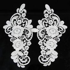Online Shop 1 par Off white poliéster guarnição do laço flores de renda Applique corte costura Craft Aliexpress Mobile