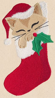 Feline Festive - Kitty Stocking - Thread List | Urban Threads: Unique and Awesome Embroidery Designs