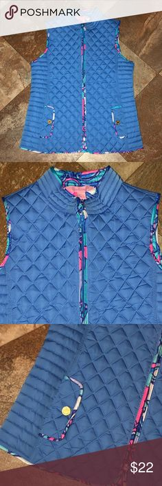 Girl's Lilly Pulitzer Down Puffer Vest XL 12/14 This is a girl's Lilly Pulitzer down puffer vest. The color is blue with a blue and pink floral pattern in the liner. It has gold color buttons on the hips. It is an XL 12-14. This vest is in new Without Tags condition with no stains or odors. I have a smoke-free home. Lilly Pulitzer Jackets & Coats Puffers Xl Girls, Puffer Vest, Lilly Pulitzer, Stains, Smoke Free, Buttons, Coats, Floral, Pattern
