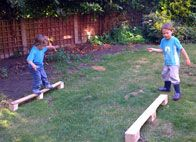 pallets repurposed to balance beam • {links to many other unique ideas}