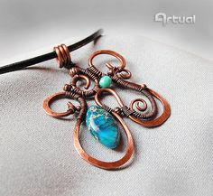 Wire wrapped copper jewelry hammered pendant necklace by Artual