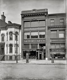 """Washington, DC 1907. """"A.L. McCormick garage, New York Avenue. Early auto retailing which was, according to the Washington Post, """"the world's greatest fad."""""""