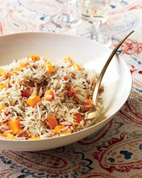 "Butternut Squash Basmati Rice - I just made this DELICIOUS recipe & added a bit of boneless, skinless white chicken meat at the end to make this a ""complete"" meal in a bowl dinner on Sunday.  Doubled the recipe, so we have lunch leftovers - and ground mustard & cumin work fine to season the rice if you don't have whole cumin & mustard seeds."