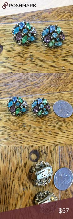 VINTAGE SIGNED BARKLEY Earrings Colors of peridot, amethyst, and blue topaz set in these beautiful Barkley 1940's Vintage earrings Goltone. They are clip earrings. stunning and in perfect vintage shape. Jewelry Earrings