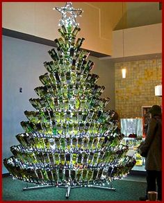 wine bottle christmas tree 4