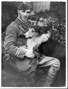 Capt. Albert Ball, WW1 Ace, and Collie.