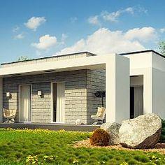 Parterowy dom na wąską działkę z płaskim dachem oraz zadaszonymi tarasami.