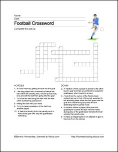 Football Wordsearch, Vocabulary, Crossword, and More: Football Crossword Puzzle