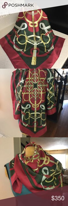 """Hermes Left Bank Equestrian Scarf  olive burgundy A beautiful 55""""/88cm never worn scarf. Circa 1984 +/- Such a classic and timeless beauty. Should be on the body or framed in the home of a horse lover. Hermes Accessories Scarves & Wraps"""