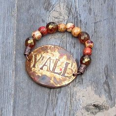 Y'all Southern Saying Bracelet with Czech glass and wood beads by SassyBelleWares
