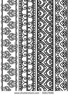 Henna Borders, Henna inspired Boders - very elaborate and easily editable - stock vector