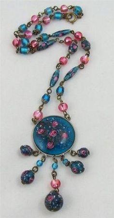 Stunning Vintage Art Deco Czech Foil Blue Pink Glass Flower Bead Necklace | eBay