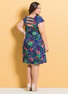 Vestido Decote Quadrado (Mix Floral) com Tiras Big Dresses, Lovely Dresses, Short Sleeve Dresses, Summer Dresses, Plus Size Fashionista, Curvy Fashion, Womens Fashion, Business Outfits, The Dress
