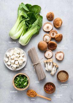 Bok Choy Recipes, Tofu Recipes, Asian Recipes, Whole Food Recipes, Vegetarian Recipes, Cooking Recipes, Healthy Recipes, Tofu Soup, Miso Noodle Soup