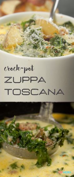 Crock-Pot Zuppa Toscana Recipe | Craving a super rich, potato and sausage soup? Pull out the slow-cooker and fire up this delicious Zuppa Toscana. It\'s easy to make and SO satisfying. Click for the recipe and how-to video.  #soups #stews #easymeals #dinnertime #lunchtime