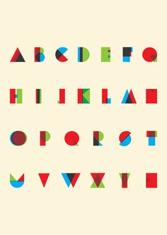 RGB type  These deceptively simple letters are by London designer, Mick O'Beirne.They are visualised by the overlapping of RGB colors to define the letterforms.  I'm not sure that they'd be particularly readable if formed into words but as a poster of letter shapes they work beautifully. betype:    RGB Typeface