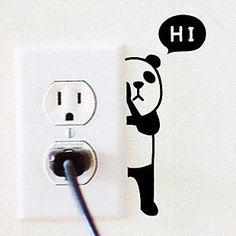 U.S. home warm long Korean decorative wall stickers cute cartoon panda hiXJ0310 switch stickers