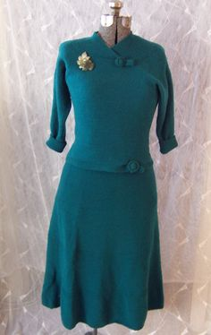 60s 2 Piece Sweater Dress in Teal by joyofvintagewithsam on Etsy, $25.00