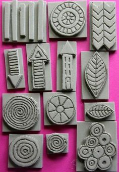 Foam stamps SET 1 hand carved mixed media by TheKathrynWheel Clay Stamps, Stamp Printing, Printing On Fabric, Tampons En Mousse, Homemade Stamps, Stencils, Foam Crafts, Craft Foam, Diy Crafts