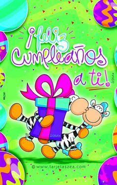 Tarjeta de feliz cumpleaños-Cebras Ele y Gala dándose regalo y beso. © ZEA www.tarjetaszea.com